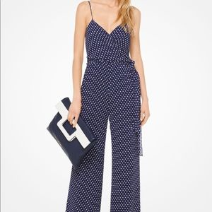 Michael Kors Blue & White Polkadot Jumpsuit